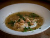 Rancho Gordo Breakfast Soup with Caballero heirloom beans