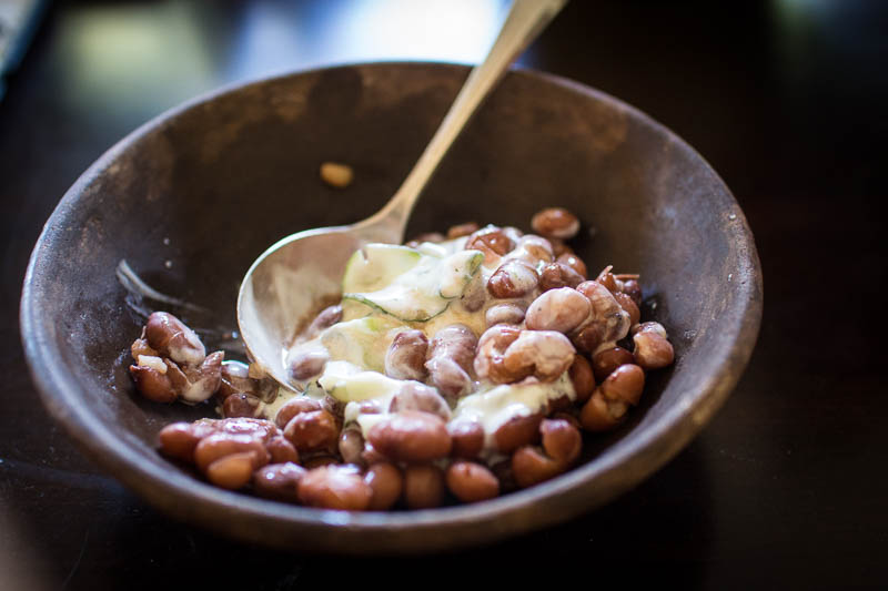 Rancho Gordo Lila heirloom beans with Greek Tzatziki yogurt sauce
