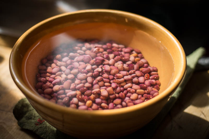 Soaking Rancho Gordo Lila heirloom beans