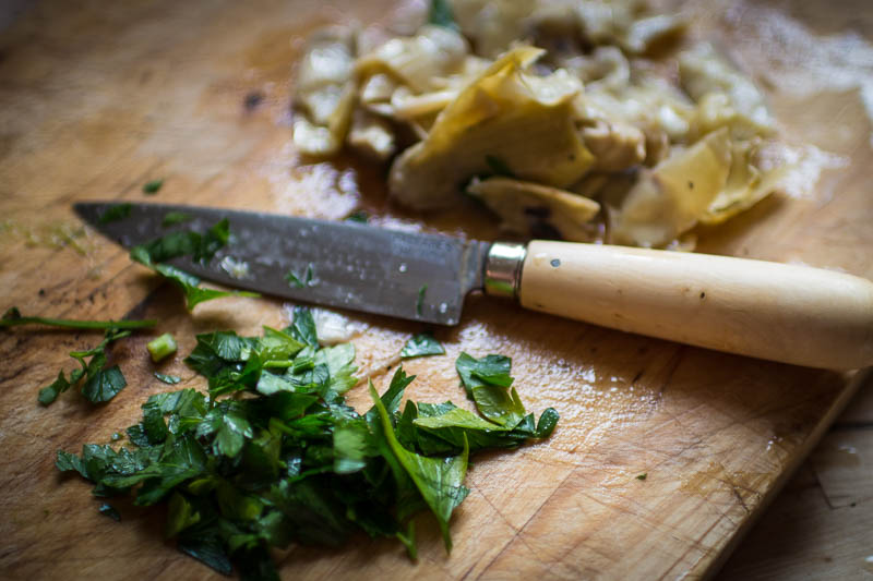 Chopped artichoke heats and parsley